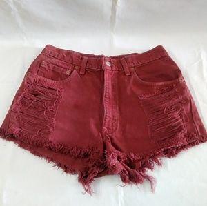 Levi's destroyed women's shorts cutoffs red 28